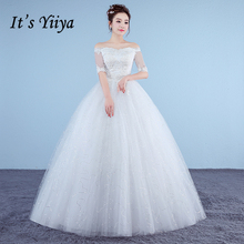 Buy It's Yiiya Plus Size New Boat Neck Short Sleeves Sequins A-line Wedding Dresses Red White Cheap Simple Lace Bride Frocks XXN185 for $37.91 in AliExpress store