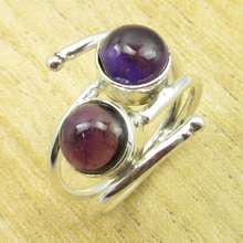 Classic Amethysts UNUSUAL Ring Size US 8 ! Silver Plated Jewelry WHOLESALE PRICE