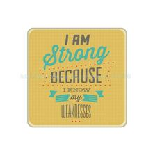 4Pcs/Lot Customized I am Strong Creative Sign Cork Wood Beverage Coaster Table Drink Tea Coffe Cup Mat Home Decor