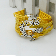 2016 Fashion Girls Jewelry Wrap Multilayer DIY Leather Braided Rope Wristband   Infinity love Owl Yellow  Bracelets & Bangles