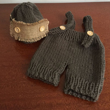 Crochet Baby Hat Pants Set Costume Linen Beanies Hand Knitted Cap Outfits Photography Newborn Photo Shoot Accessories(China)