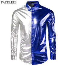Men s Nightclub Metallic Patchwork Button Down Shirt Chemise 2018 New  Fashion Shiny Slim Disco Dance Tops Costume Party Clubwear 9cb29f8a45ec