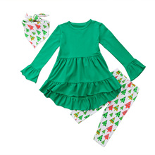 Christmas Toddler Kids Baby Girl Outfit Clothes Long Sleeve Shirt Dress Green Ruffle Tops Long Tree Pants Set New Year 2018(China)