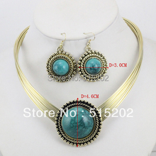 Wholesale vintage turquoise jewelry set fashion necklace + earring LM_S039