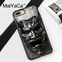 Japan Samurai Mask Printed Soft TPU Skin Cell Phone Cases For iPhone 6 6S Plus 7 7 Plus 5 5S 5C SE 4 4S Back Cover Shell