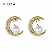 MEEKCAT Newest Shiny Crystal Star Moon Earrings Charming Simulated Pearl Earrings for Women 2017 Fashion Jewelry Brincos