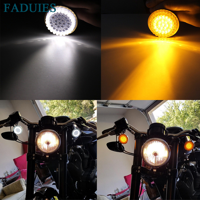 Motorcycle Light 2 Bullet Style 1157 LED Inserts Turn Signal Panel For Harley Sportster Softail Touring Dyna 2012 2013-2017 (1) 33