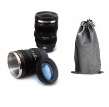 High Quality 400ml Camera Lens Mugs With Bag Stainless steel liner Mugs Coffee Tea Milk Cup Novelty Gifts Thermocup Thermomug