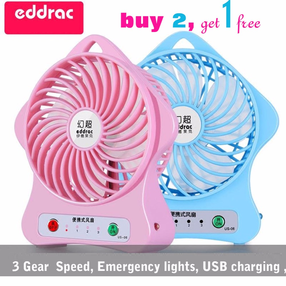 Eddrac Mini Usb Fan Buy Two Get One Rechargeable Portable Electric Fan Strong Wind Cooling Tools Pink/Blue Home DesktopUse US-06(China)