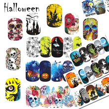 1 PCS Nail Sticker Water Transfer Full Cover Foils Halloween 24 Pattern for Nail Art Decorations Decals Accessory CHA1081-1104