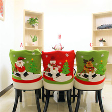 Home Wider Christmas Santa Claus Chair Back Cover Snowman Elk Ski Dinner Table Party Decor oct1028 Drop Shipping(China)