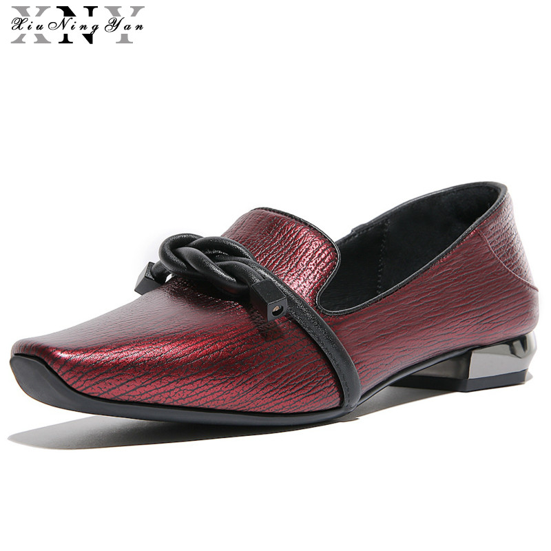 XIUNINGYAN Women Flats Genuine Leather Oxford Shoes for Women Big Size Shoes Brand Flats Shoes Sqare Toe Handmade Women Shoes<br>