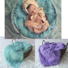 100x150cm Mongolian Faux Fur Wool Blanket Newborn Baby Photography Background Backdrops Photo Props Rug Long Hair Beach