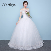 Buy It's YiiYa White Boat Neck Sleeveless Hot Bride Gowns Embroidery Bling Sequined Charming Plus Size Wedding Frock HS266 for $40.09 in AliExpress store
