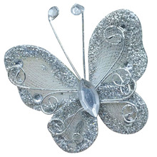 10Pcs Mixed Organza Wire Rhinestone Butterfly Wedding Decorations For Scrapbook Home Decor Party Accessories silver(China)