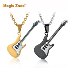 Enamel Guitar Necklace & Pendant For Women/Men Hip Hop Collier Jewelry Gold Color Stainless Steel Rock Musical Necklaces(China)