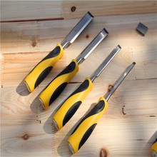 High Quality 4pcs/Set Carving 10mm/18mm/24mm/38mm  Flat chisel gouge Chisel Woodworking Chisel  Diy Tools Handle Hand