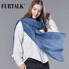 FURTALK Spring Winter Women 100% Wool Scarf Wool Shawl Luxury Long Women Scarf Wool Pashmina Bandana Long(China)
