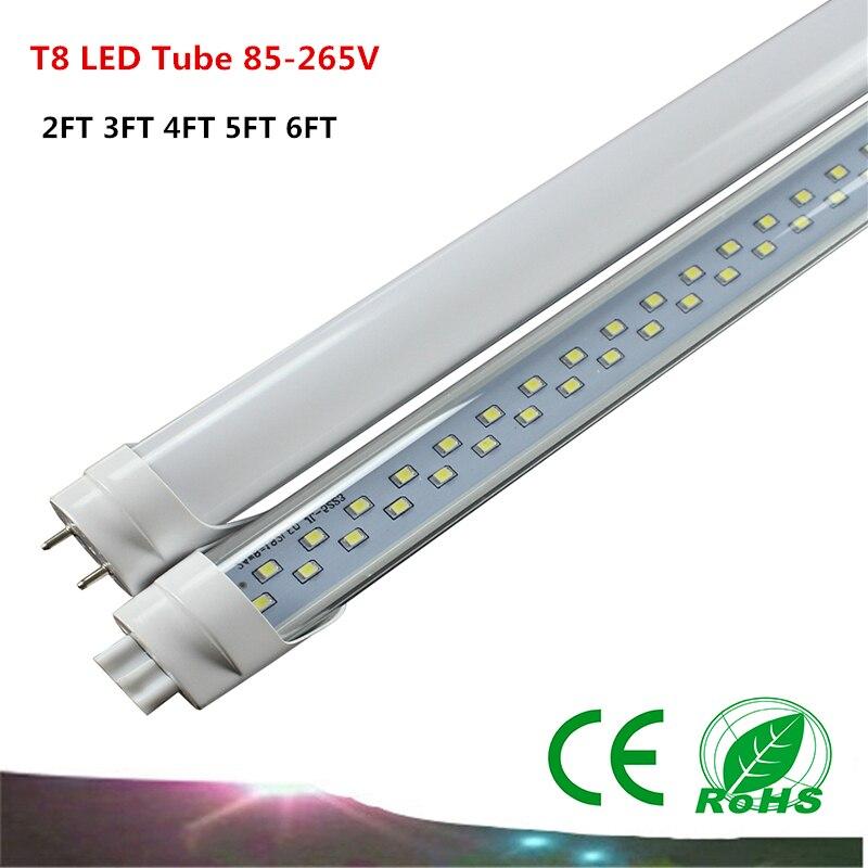 T8 LED tube 2FT 3FT 4FT 5FT  SMD2835 LED lamp AC85-265V   0.6M 0.9M 1.2M 1.5M 1.8M LED Light<br><br>Aliexpress