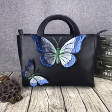 Fashion Cubic 3D Butterfly Designer Genuine Cow Leather Women's Large Handbag Wooden Handle Ladies Elegant Totes Female Purse