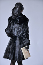 low low low  black imported from finland skirt lantern sleeve fashion with hood  real fur mink coat