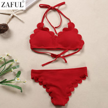 ZAFUL Sexy Woman Lace Up Design Swimwear Red Female Padded Elastic Swimsuits Girls Backless Bathing Suits Retro Wave Bikinis