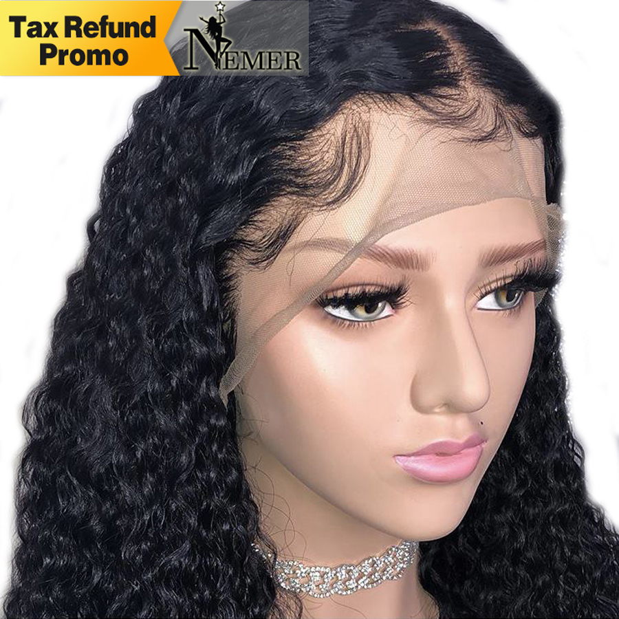Nemer 13x6 Brazilian Lace Front Human Hair Wigs For Black Women Glueless Lace Front Wig with Baby Hair Pre Plucked Hairline Remy(China)
