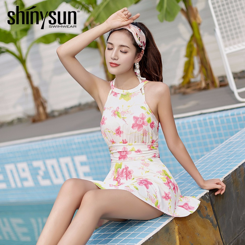 Shinysun New Floral printed Women Swimwear Freshness style Holiday leisure One Piece Swimsuit Swimwear one-piece  Bathing Suit <br>
