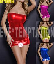 Sexy PVC FAUX LEATHER Underwear Babydoll Lingerie strapless leotard Pole dance seksi Temptation adult nightclub Party 6362(China)