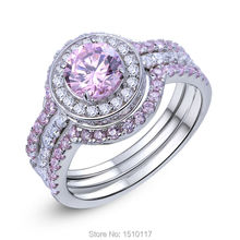 2 Ct Stunning Round Cut Pink CZ Solid 925 Sterling Silver 3 Pcs Halo Wedding Ring Sets Romantic Jewelry For Women Ship From USA
