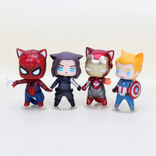 4pcs/lot The Avengers Superhero Q version spiderman iron man captain america winter solider Action Figure Toy Model Doll 8cm(China)