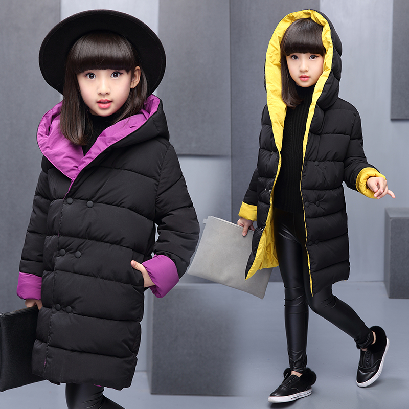 2017 New Girls Winter Warm Long Coat Kids School Hooded Jacket Kids Fashion Thick Snow Wear Cotton Down Solid Color Winter Coats<br>