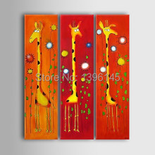Free Shipping Big Size 100% Hand-painted Abstract Modern Decor Animal Giraffe Painting On Canvas Hotel Decoration 3pcs Painting