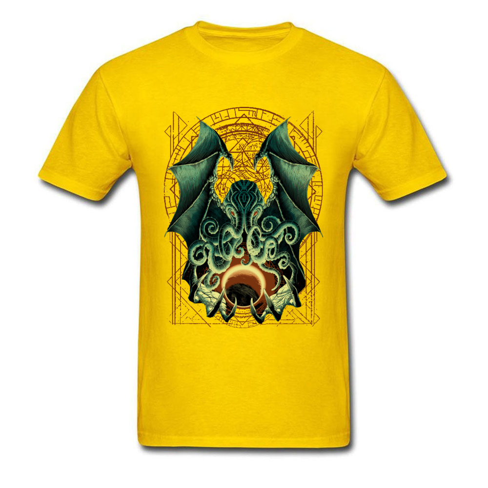 Printed CTHULHU-0601 Printed On Short Sleeve Labor Day Tees 2018 Hot Sale Round Neck Pure Cotton Sweatshirts Men T Shirts CTHULHU-0601 yellow