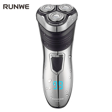 RUNWE 1.5 hour Charge Men Electric Shaver 100-240V Rechargeable Electric Shaver 3D Triple Floating Blade Heads Shaving Razors(China)