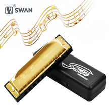 SWAN 10 Holes 20 Tone Harmonica Key C for Blues Mouth Organ Woodwind Musical Instrument for Beginner Kids Children Gift