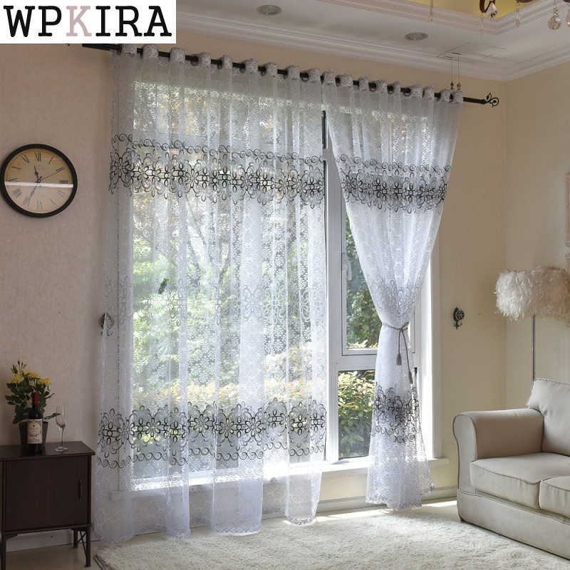 Floral Modern Sheer Tulle Curtains for Living Room Bedroom Kitchen Voile Sheer Curtains for Window Tulle Curtains Drapes S020&30