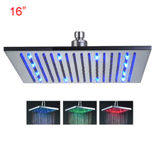 Retail - 16 Inch Stainless Steel Led Top Shower Head Light, Color Changed without Battery,Free Shipping X15382(China)