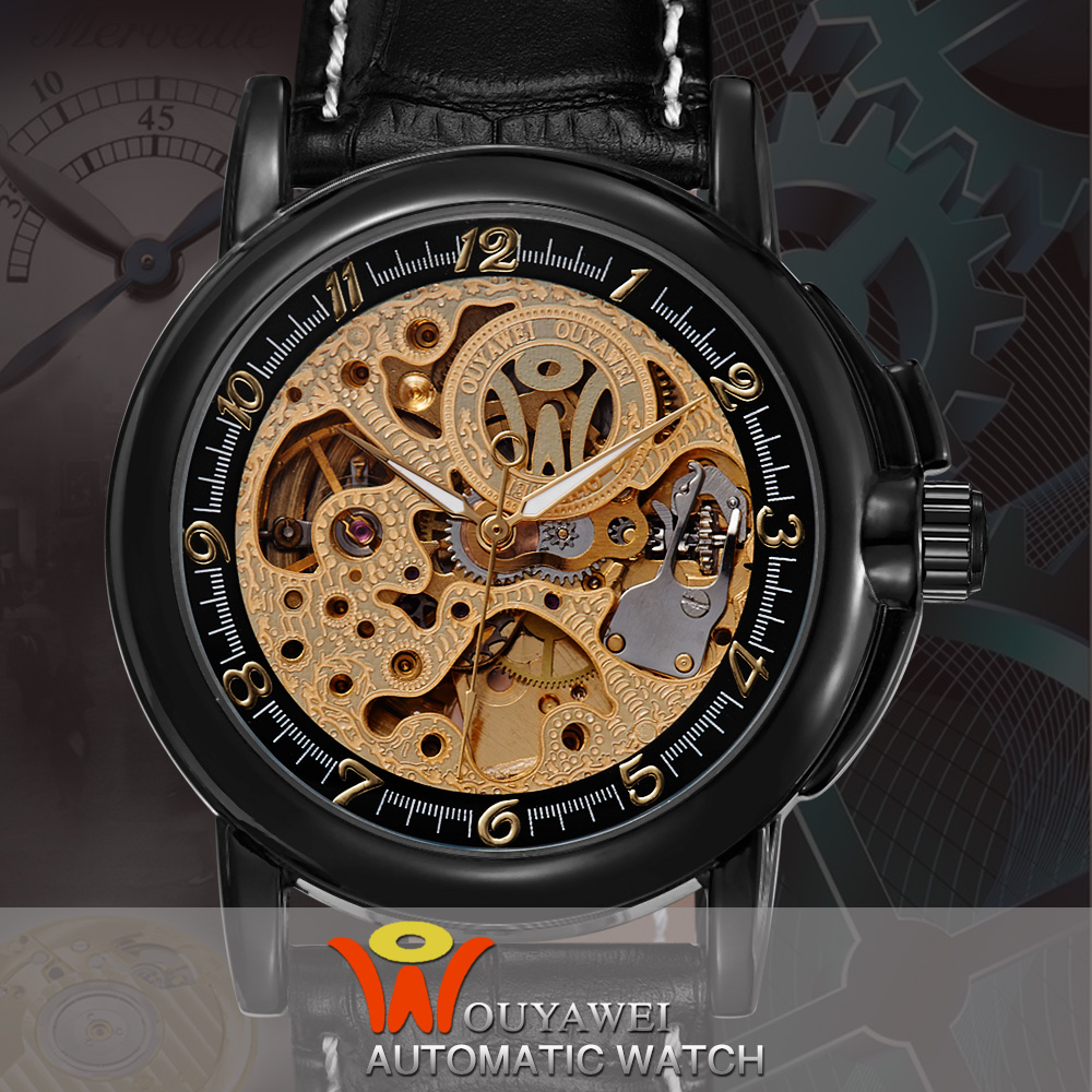 Ouyawei Automatic Mechanical Men Luxury Skeleton Gold Case Black/Brown Leather Watchband Montre Homme Clock Wristwatch<br><br>Aliexpress