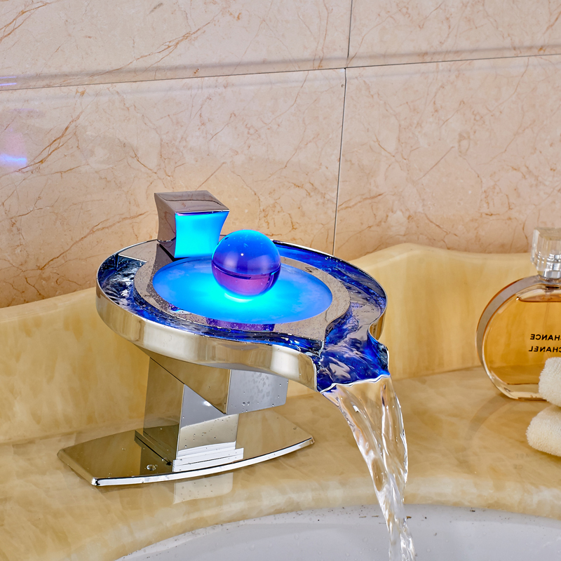 Luxury LED Light Washbasin Faucet Single Handle Deck Mounted RGB Colors Mixer Taps Chrome Finish 4 Hole Cover<br><br>Aliexpress