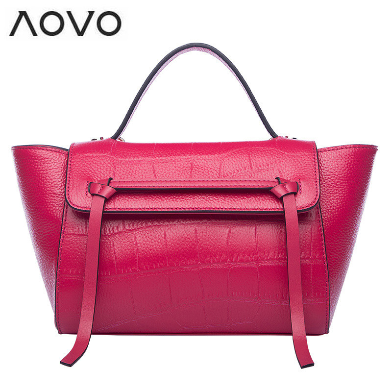 AOVO Luxury Alligator pattern Genuine leather women handbag Fashion wings bag Small catfish beltbag casual yellow shoulder bags <br>