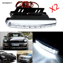 MOONBIFFY 2017 HOT SALE car styling 2pc 8LED Daytime Driving Running Light DRL Car Fog Lamp Waterproof White DC 12V