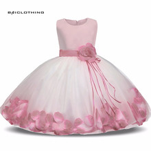 2017 New Girl Princess Dress Girls Party Rose Petals Evening Gown Children's Costume Girl Kids Wedding Party Dress Clothes