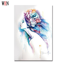 Flower Girl Decorative Pictures Abstract Wall Art Pictures Watercolor Paintings Cuadros Decoracion Christmas Gift Poster Vintage