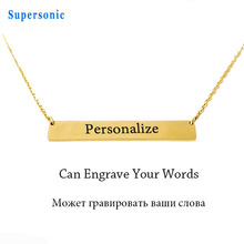 Personalized Stainless Steel Pendant Bar Necklace Gold Color Custom Name Plate Engraved Word Letters Jewelry(China)