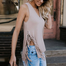 WOTWOY Women Tank Tops Summer Tassel V-Neck Sleeveless Vest Tops Cotton Women Casual Tanktop Camis Female Camisole T727(China)