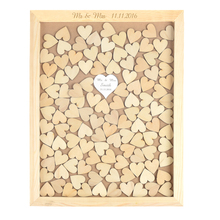 Personalized Rustic Drop Top Wooden Wedding Guest Book Frame With one Mirror Hearts & 130 Pcs Wood Hearts(China)