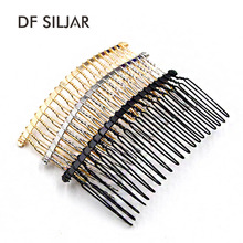 10pc/lot 37*78mm Black / KC Gold /Rhodium 20 Teeth Wedding Bridal DIY Wire Metal Hair Comb Clips Hair Findings Accessories Y971(China)