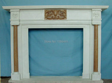 marble fireplace mantel concise European Roman Ionic style carving customizing