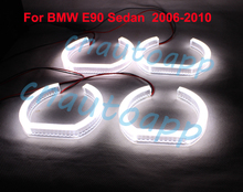 Custom Crystal Light Angel Eyes SMD LED Headlights Pipeline Light Running Light DRL - One Set(China)